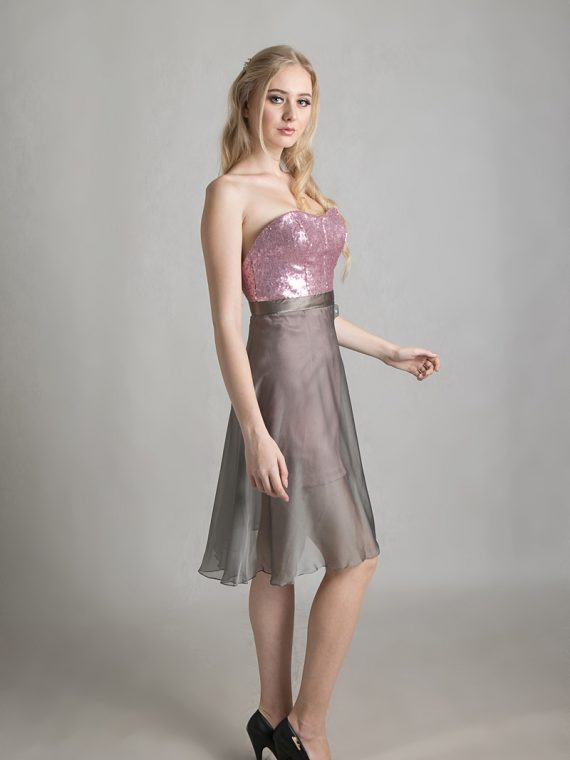 pink grey dress