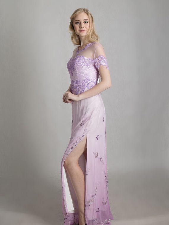 purple silk longdress