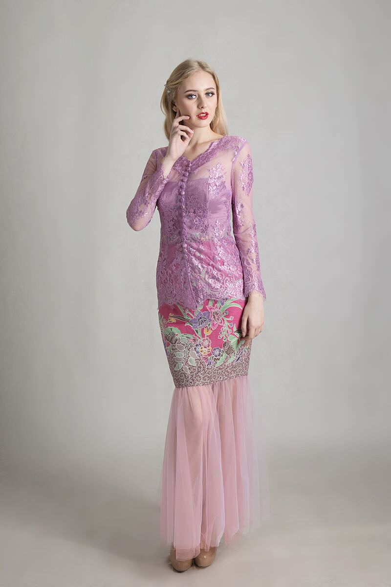 Purple France Brocade Kebaya