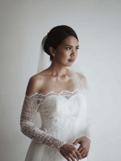 classic puteri french lace mermaid wedding dress