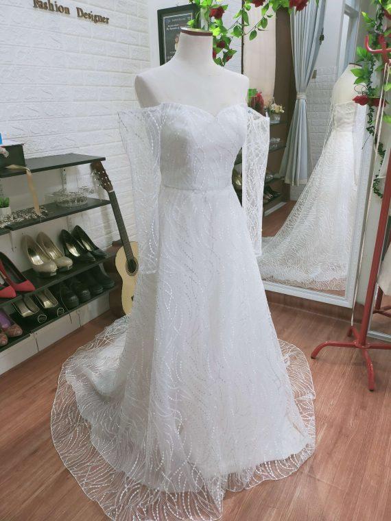a line long sleeves wedding dress